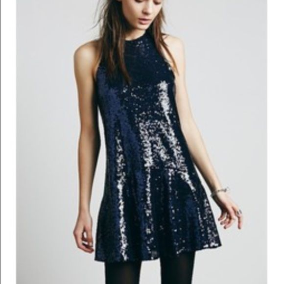 NWOT Free People Navy Liquid Sequin Dress Absolutely gorgeous.  Never been worn! Free People Dresses Mini