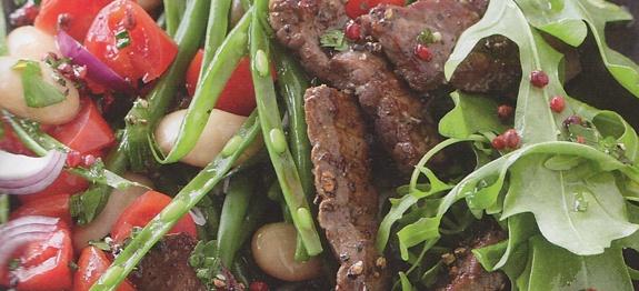 Bohnensalat mit Steakstreifen