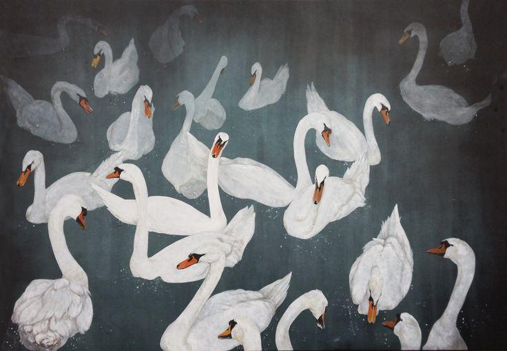 swan lake:color on korean paper,2013,120ⅹ180  It was drawn by Dahae Ji. g.daz