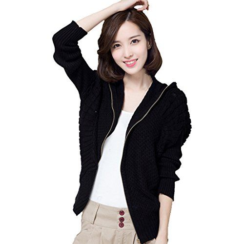 frauen batwing casual langarm kapuze strickjacke cardigan pullover mit. Black Bedroom Furniture Sets. Home Design Ideas
