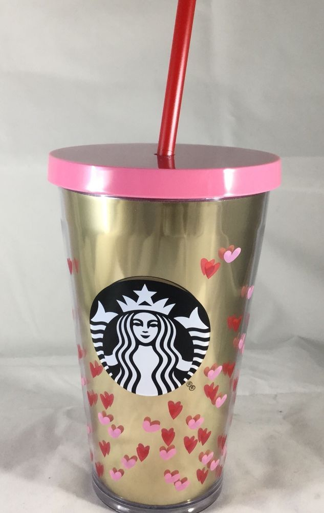 2017 Starbucks Valentines Day Cold Cup Gold Pink Hearts 16 oz Acrylic  #Starbucks