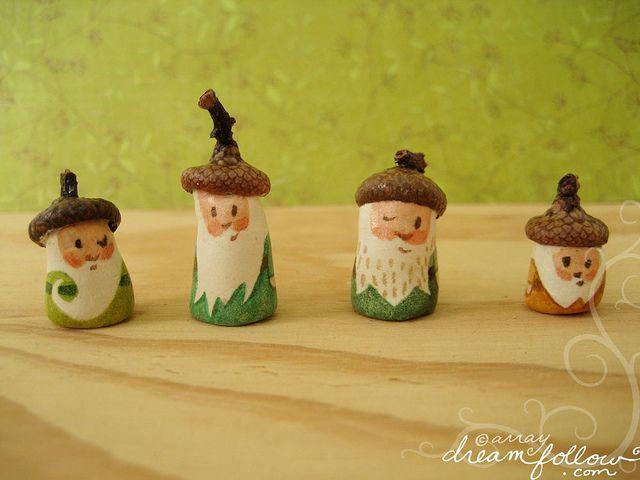 Tiny gnomes with acorn hats