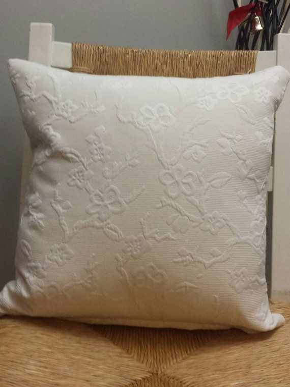 Embossed cream cushion cover. Cherry blossom design