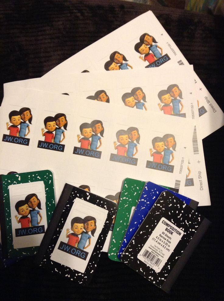 Little composition note books plus Caleb and Sophia stickers = Great return visit note books! Pequeños cuadernos mas las calcomanías de Caleb y Sofía = Cuadernos perfectos de re-visitas!