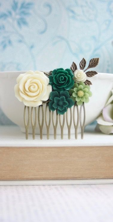 Ivory, Dark Green, Emerald, Moss Green, Ivory, Jade Green, Green Rustic Wedding Comb. Green Flower Comb, Green Wedding by Marolsha - https://www.etsy.com/listing/267995428/ivory-dark-green-emerald-moss-green?ref=shop_home_active_1
