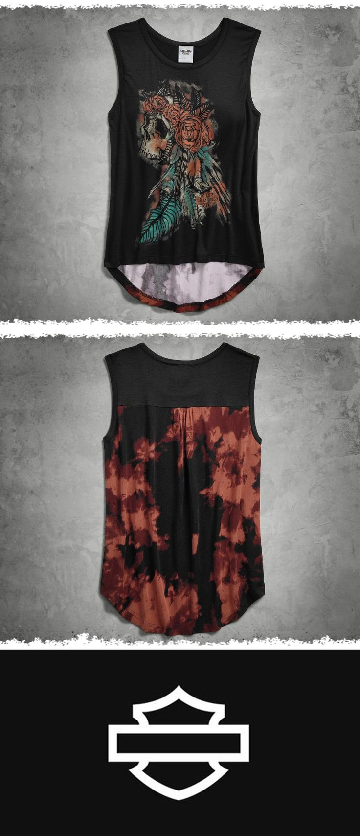 Mix it up. That's what we did. | Harley-Davidson Women's Tie-Dye Back Tank