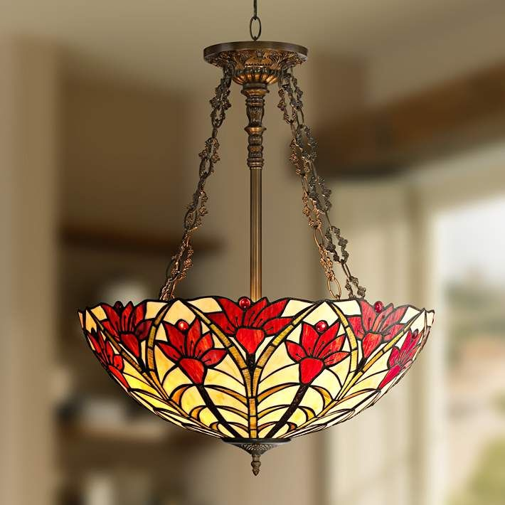 "Tiffany Style Ruby Flora 22 1/2"" Wide Bronze Pendant Light - #8G523 
