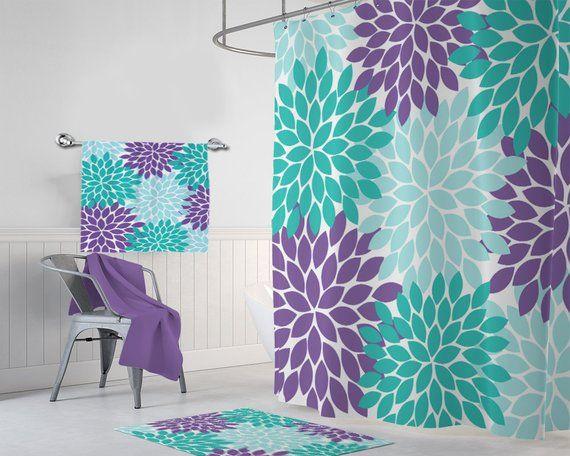 Aqua Teal Purple Flower Shower Curtain Flower Bathroom Decor