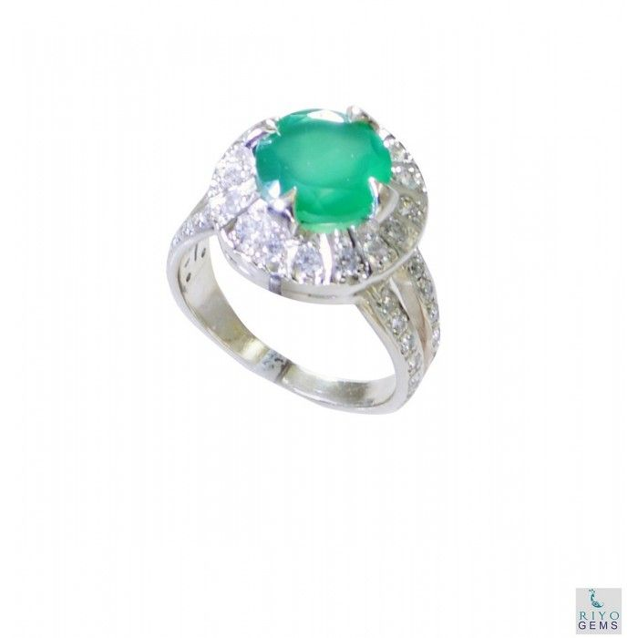 Riyo Crush Green Onyx 925 Solid Sterling Silver Green Ring Srgon8-30006