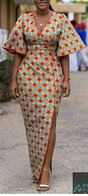 African Print Wrap Dress || Handmade with 100% cotton. African Print Dress, Floor Length Dresses, Ankara Dresses, African Clothes, Wedding Guest Dresses. African fashion | Kente | Ankara | Kitenge | Fashion blogger (Affiliate)