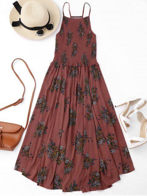 Floral A-Line Smocked Midi Dress - FLORAL XL