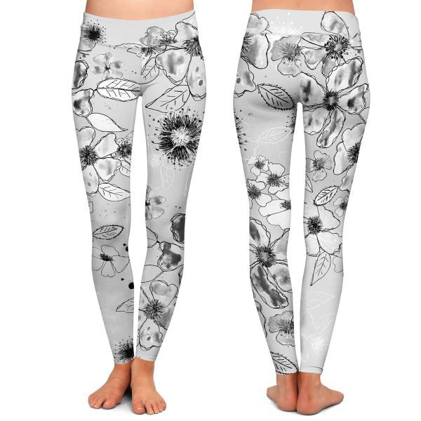Front and Back Profile | City Chic Leggings | Julie Ansbro - Drawn Blossom Gray