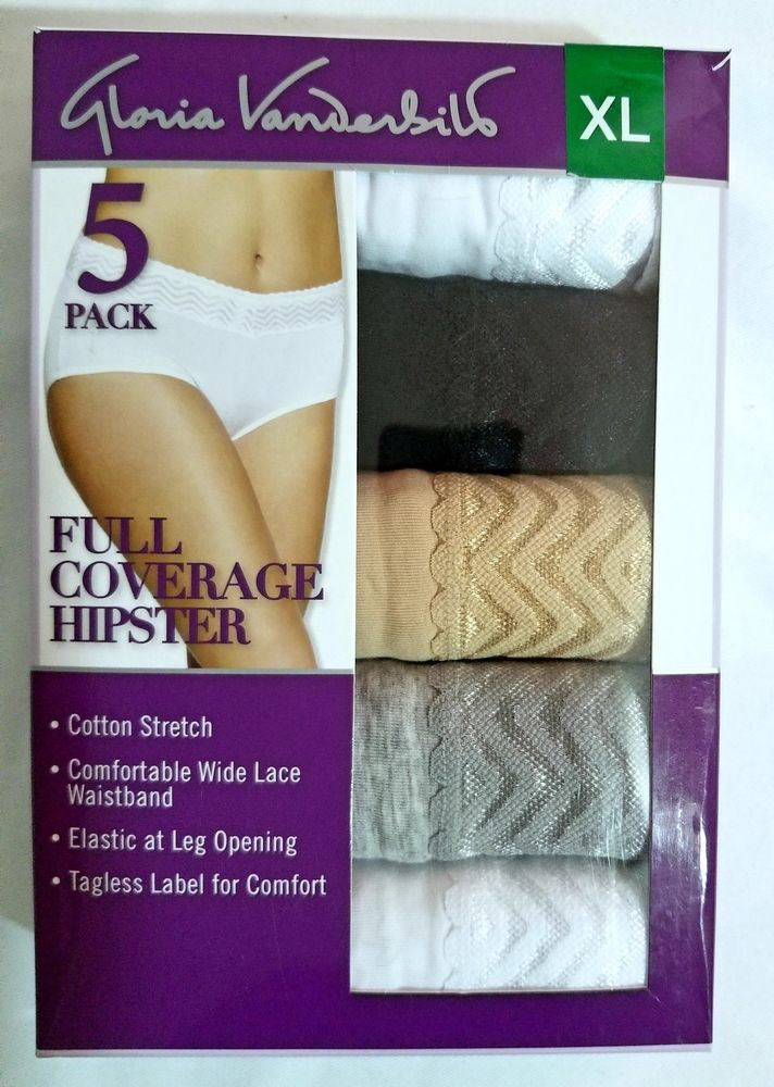 3455f8d9dda3 Gloria Vanderbilt 5 Pack Full Coverage Hipster Cotton Stretch Lace Panties  NEW #GloriaVanderbilt #Hipster