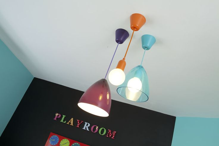 Colourful interior | Bright interior | Bright home | Colour interior | Pendant lighting | Coloured pendant lights | Bright lights | Coloured walls | Summer interiors | Kids room | Childrens playroom | Kids bedroom inspiration | Childs bedroom ideas