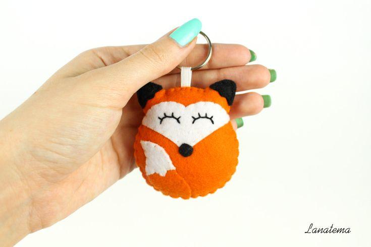 PORTACHIAVI VOLPE, portachiavi in feltro, accessorio per borse e borsette, volpe in feltro, portachiavi arancione, animali feltro di Lanatema su Etsy