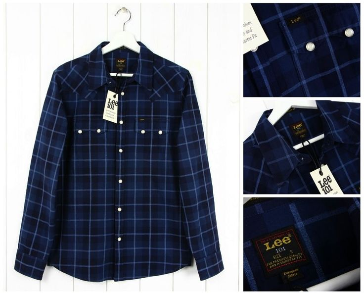 NEW LEE 101 RIDER  SHIRT CHECK  BLUE/NAVY REGULAR FIT  SAW TOOTH  S/M/L/XL
