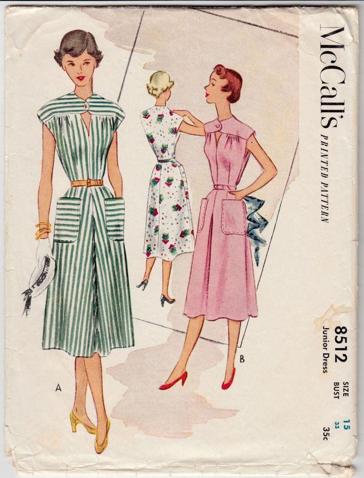 """Vintage Sewing Pattern 1950 ' s Ladies Dress McCall 8512 dimensione 33"""" busto - modello gratuito E-book incluso di classificazione di Mrsdepew su Etsy https://www.etsy.com/it/listing/225008835/vintage-sewing-pattern-1950-s-ladies"""