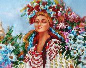 """Arte con cuentas """"Mujer ucraniana en traje nacional"""", decoración de la pared, cuadro de cuentas, cuadro de bordado, bordado del grano"""