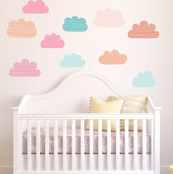 pastel clouds wall stickers by parkins interiors | notonthehighstreet.com