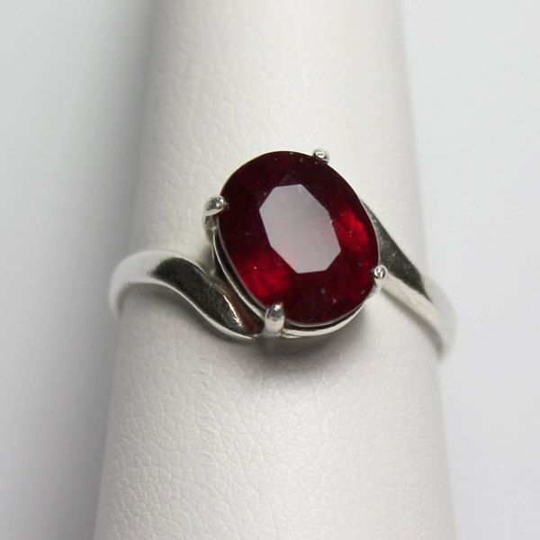 Genuine Ruby Sterling Silver Ring Natural Ruby Ring Silver Ruby Ring 14k White Gold Diamond Ring Ruby Ring