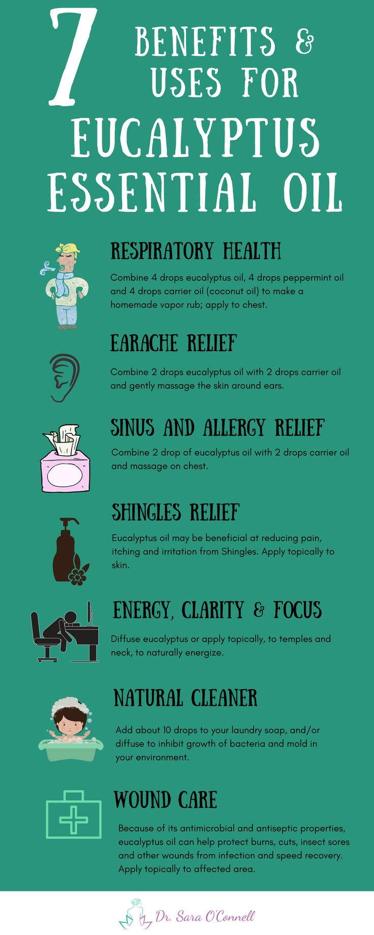 Eucalyptus essential oil benefits and uses. What you need to know about eucalyptus oil and how to use it for natural health concerns and remedies to help boost respiratory and skin health. Click the image for more and repin to share with your loved ones!