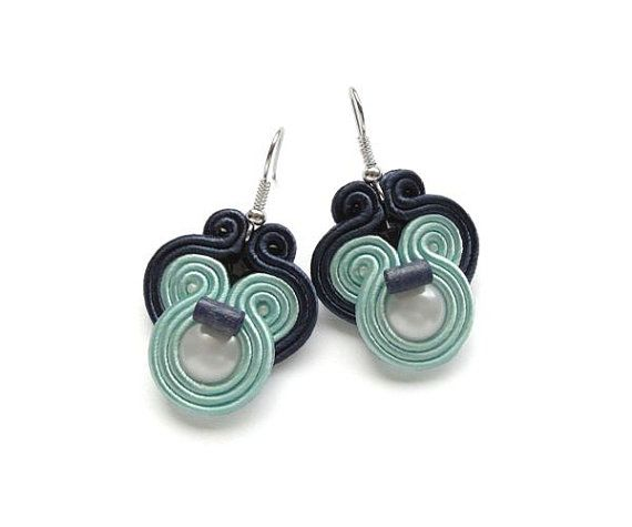 Soutache Mint and Navy Earrings Statement Color by mintESSENCE, $33.00