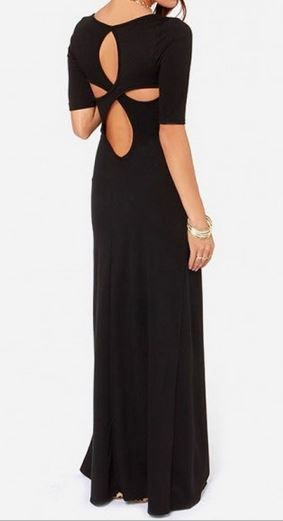 So Gorgeous! Love Love LOVE this Dress! Sexy Black Cross Over Back Hollow-out Elbow Sleeve Maxi Dress #Sexy #Black #Cross_Over #Back #Maxi_Dress #Fashion #Long #Black_Dresses