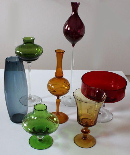 Rauchglas, Sammlerglas, buntes Glas, Konvolut 60er-80er Jahre