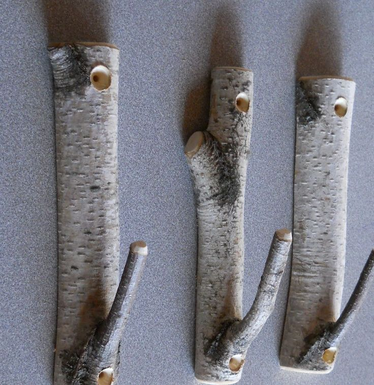 Set of 3 Birch Branch Hooks Rusic Natural Home Decor. $15.00, via Etsy.