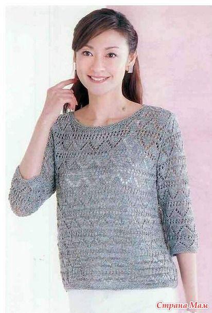 Ажурный пуловер с рукавами 319417960_26636. спицами.