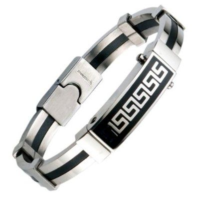 R&B Bijoux - Bracelet Homme Rigide - Style Menotte Symboles Grecs - Acier Inoxydable Émail Noir (Argent, Noir). 19,90€