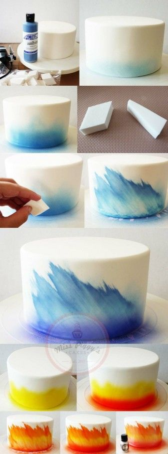 DIY – Fire and Ice cake using airbrush and make-up sponge