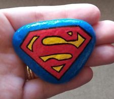 Original hand painted rock art stone Superman logo