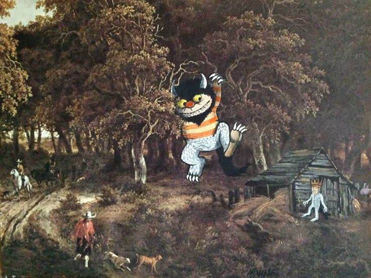 David Irvine is the talented artist behind the Gnarled Branch. He paints random characters into thrift store paintings.