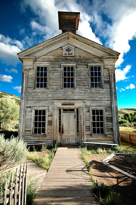 The old school house at Bannack ghost town houses the Montana's oldest Masonic lodge on the second floor.  Ben Pierce photography