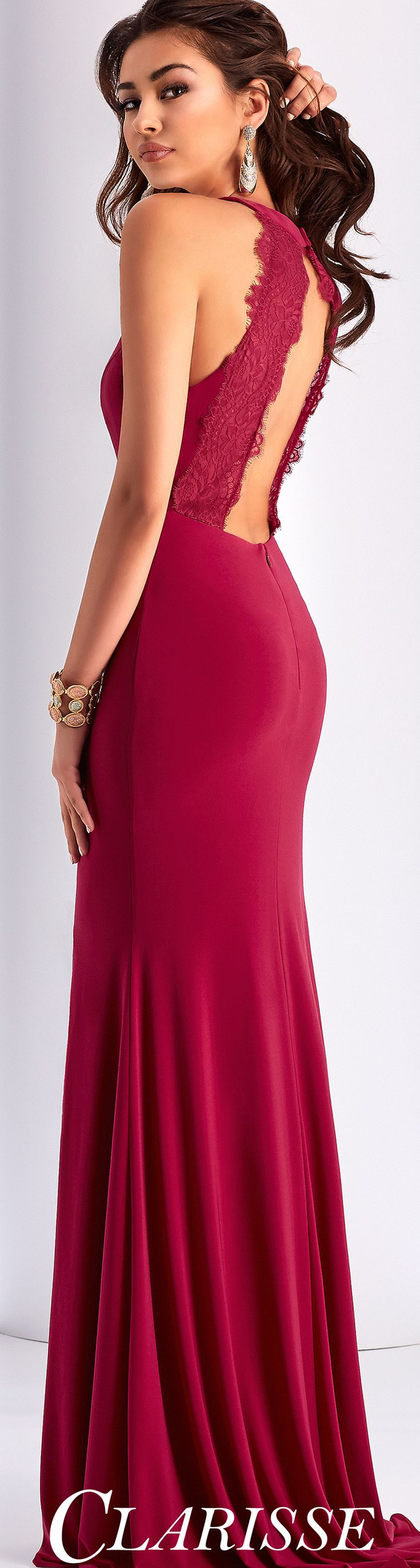 Clarisse Fitted Prom Dress 3048. Simple halter prom dress with sexy slit, lace detail, and open back. COLOR: Berry, Smoke SIZE: 00-16
