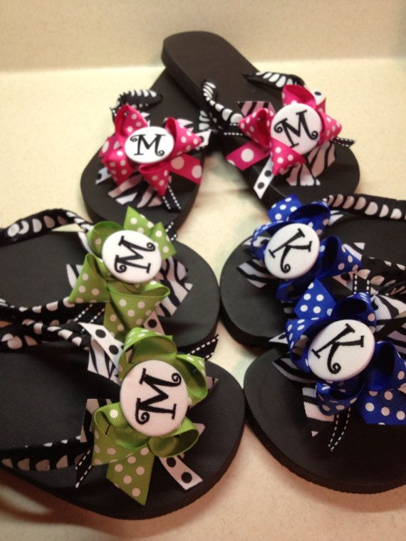 Monogrammed ribbon flip flops by LilybugsBowtique on Etsy, $18.00