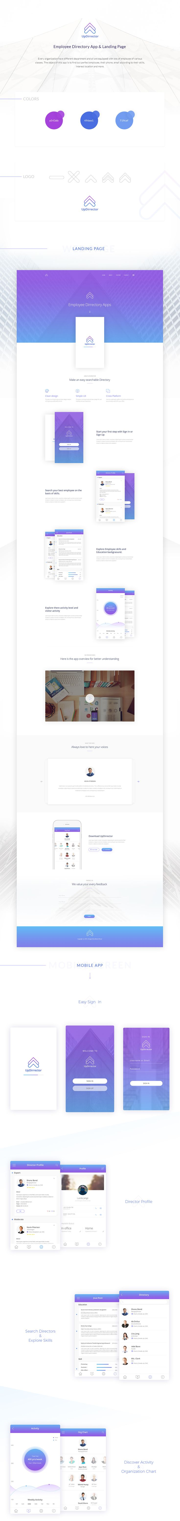 Hi,This is my new complete project. I have gone through from logo design to apps and landing page design. It is mainly an Employee Directory app. Have also a landing page. Hope you like my design and provide your valuable feed back. Thanks.