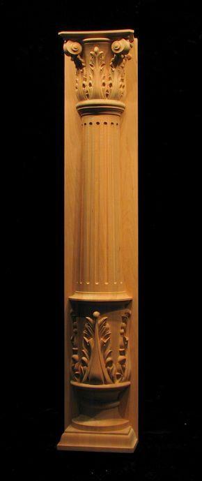 Wood Carved Acanthus Leaf - Pilaster