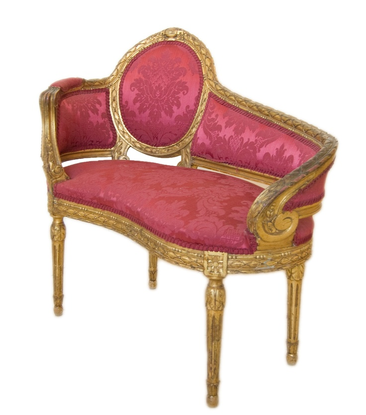 French antique chaise lounge home chair sofa settee for Chaise lounge antique furniture