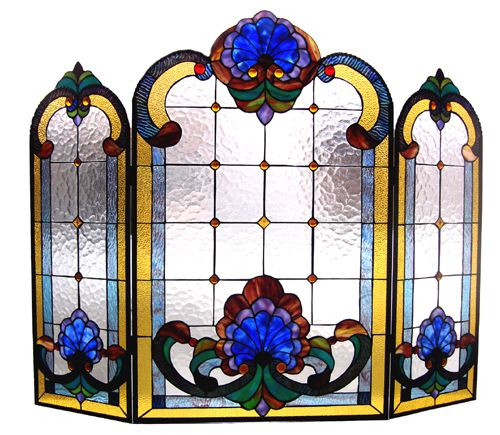 tiffany screen | Tiffany Style Stained Glass Victorian Design Fireplace Screen ...