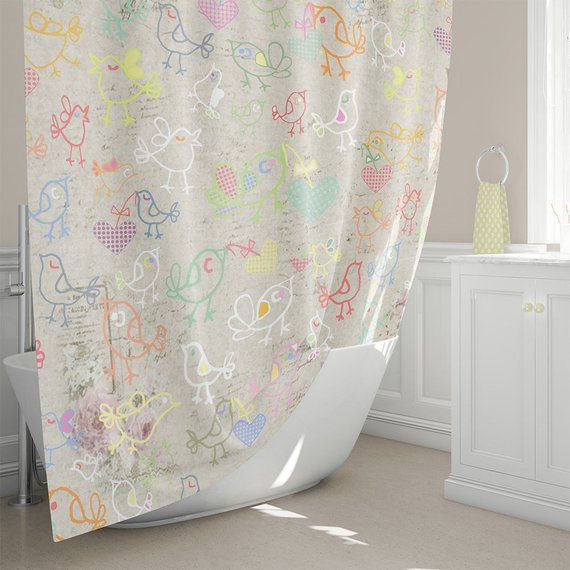 Kids Shower Curtain Cottage Chic Shower Curtains Kids Bathroom Decor Beige Shower Shabby Chic Ba With Images Shabby Chic Bathroom Shabby Chic Pillows Shabby