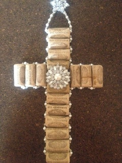 Wine cork cross Rhinestones & Pearls