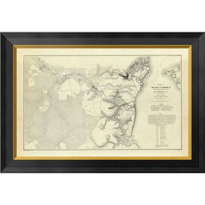 Global Gallery Civil War - Official Plan of The Siege of Yorktown Virginia, 1862 by Henry L. Abbot Framed Graphic Art on Canvas Size: