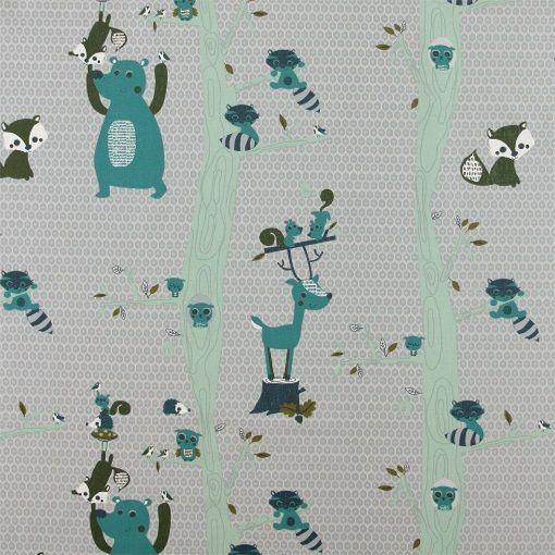 Bomull grå m blå/grønn skogens dyr