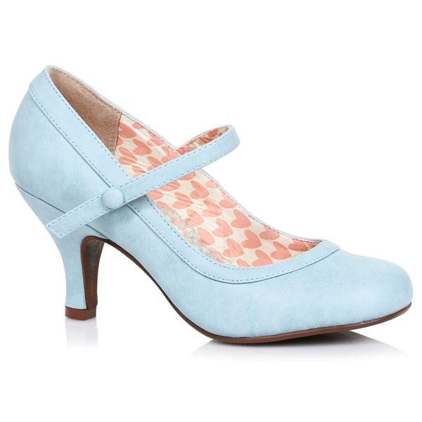 Kitten Heel Pin Up Round Toe Shoes Pastel Blue