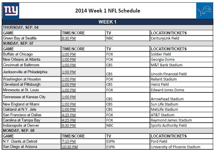 Ridiculous image intended for nfl week 6 printable schedule