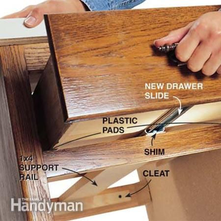 Don't let sticky drawers frustrate you. Replace worn-out slides with modern ball-bearing drawer slides to make your kitchen or bathroom drawers glide in and out.