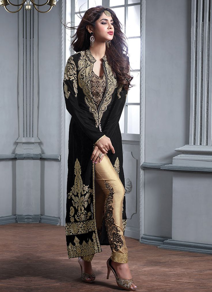 Buy Black Straight Pant Suit online from the wide collection of straight-pant-suit.  This Black colored straight-pant-suit in Velvet fabric goes well with any occasion. Shop online Designer straight-pant-suit from cbazaar at the lowest price.