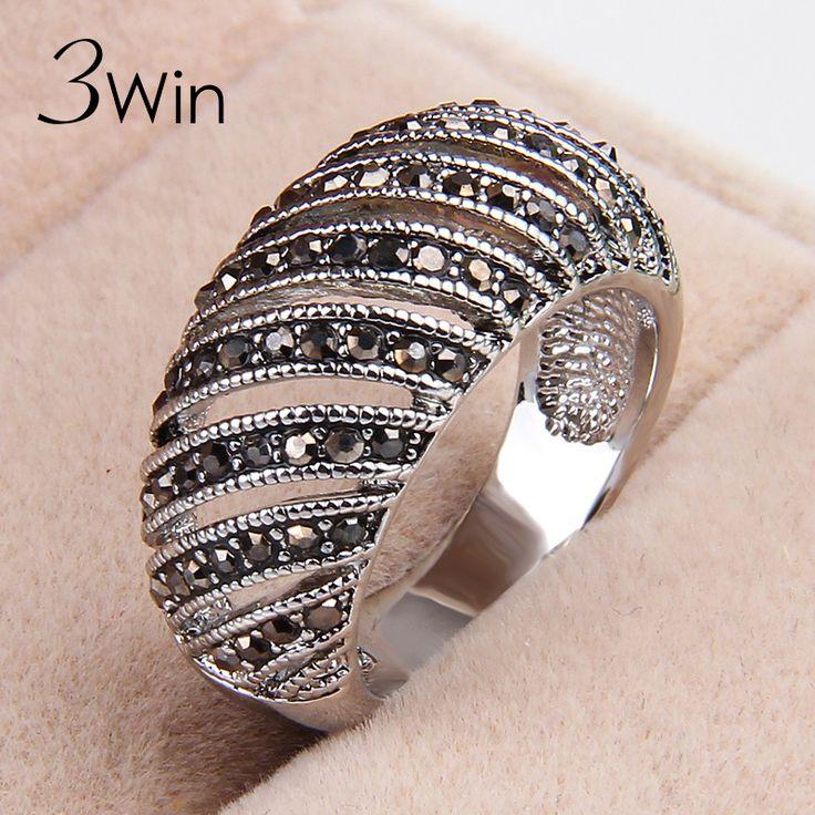 WinWinWin Merk Top Kwaliteit Fashion Verzilverd Barokke Zwarte Strass Verjaardag Kerstcadeaus Fijne Holle Ringen voor Vrouwen